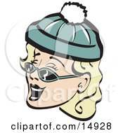 Jolly Blond Woman Wearing A Snow Cap And Sunglasses Singing Christmas Carols Retro Clipart Illustration