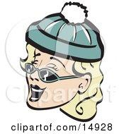 Poster, Art Print Of Jolly Blond Woman Wearing A Snow Cap And Sunglasses Singing Christmas Carols Retro