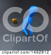 3d Blue Man Chained To A Suitcase On A Gray Background