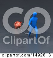 Poster, Art Print Of 3d Blue Man Chained To A Piggy Bank On A Gray Background