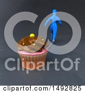Clipart Of A 3d Blue Man Chained To A Cupcake On A Gray Background Royalty Free Illustration