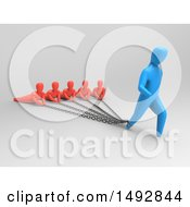 Clipart Of A 3d Blue Man Chained To Other People On A Gray Background Royalty Free Illustration