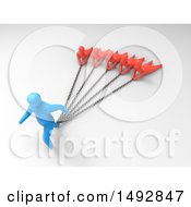 Clipart Of A 3d Blue Man Chained To Other People On A Shaded Background Royalty Free Illustration