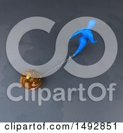 Clipart Of A 3d Blue Man Pulling A Cupcake On A Chain Royalty Free Illustration by Julos