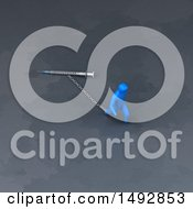 Clipart Of A 3d Blue Man Pulling A Syringe On A Chain Royalty Free Illustration