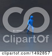 Clipart Of A 3d Blue Man Pulling A Wrench On A Chain Royalty Free Illustration by Julos