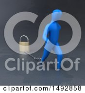 Clipart Of A 3d Blue Man Pulling A Padlock On A Chain Royalty Free Illustration by Julos