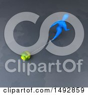 Clipart Of A 3d Blue Man Pulling A Globe On A Chain Royalty Free Illustration by Julos