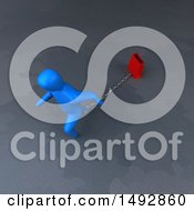 Clipart Of A 3d Blue Man Pulling A Shopping Bag On A Chain Royalty Free Illustration by Julos
