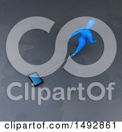 Clipart Of A 3d Blue Man Pulling A Tablet Or Smart Phone On A Chain Royalty Free Illustration by Julos