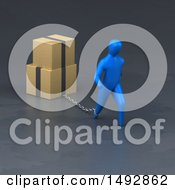 Clipart Of A 3d Blue Man Pulling Moving Boxes On A Chain Royalty Free Illustration by Julos