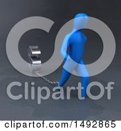 Poster, Art Print Of 3d Blue Man Pulling A Dollar Symbol On A Chain