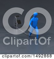 Clipart Of A 3d Blue Man Pulling A House On A Chain Royalty Free Illustration by Julos