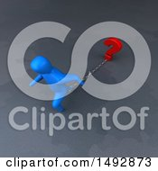 Clipart Of A 3d Blue Man Pulling A Question Mark On A Chain Royalty Free Illustration by Julos