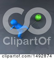 Clipart Of A 3d Blue Man Pulling A Green Apple On A Chain Royalty Free Illustration