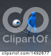 Clipart Of A 3d Blue Man Pulling An Eyeball On A Chain Royalty Free Illustration by Julos