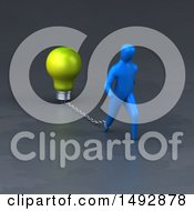 Clipart Of A 3d Blue Man Pulling A Light Bulb On A Chain Royalty Free Illustration by Julos