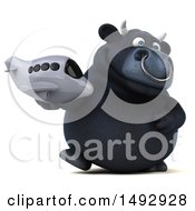 Clipart Of A 3d Black Bull Character On A White Background Royalty Free Illustration