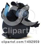 3d Black Bull Character Talking On A Cell Phone On A White Background