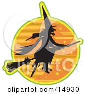 Ugly Witch In The Traditional Black Dress And Pointy Hat Riding On A Broomstick And Silhouetted Against An Orange Starry Night Sky Clipart Illustration