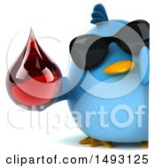 Clipart Of A 3d Chubby Blue Bird On A White Background Royalty Free Vector Illustration