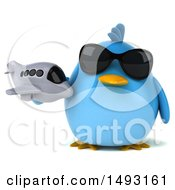 Clipart Of A 3d Chubby Blue Bird Holding A Plane On A White Background Royalty Free Illustration