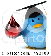 Clipart Of A 3d Chubby Blue Bird Graduate On A White Background Royalty Free Illustration
