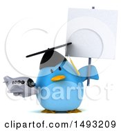 Clipart Of A 3d Chubby Blue Bird Graduate On A White Background Royalty Free Vector Illustration