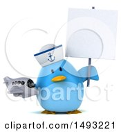 Clipart Of A 3d Chubby Blue Bird Sailor On A White Background Royalty Free Vector Illustration