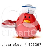Clipart Of A 3d Chubby Red Bird Sailor On A White Background Royalty Free Vector Illustration