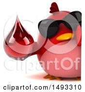 Clipart Of A 3d Chubby Red Bird On A White Background Royalty Free Vector Illustration