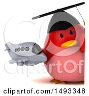 Clipart Of A 3d Chubby Red Bird Graduate On A White Background Royalty Free Vector Illustration