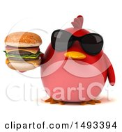 Clipart Of A 3d Red Bird Holding A Burger On A White Background Royalty Free Illustration