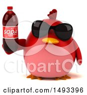 Clipart Of A 3d Red Bird Holding A Soda On A White Background Royalty Free Illustration