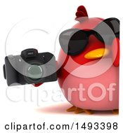 Clipart Of A 3d Red Bird Holding A Camera On A White Background Royalty Free Illustration