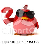 Clipart Of A 3d Red Bird Holding A Question Mark On A White Background Royalty Free Illustration