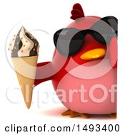 Clipart Of A 3d Red Bird Holding An Ice Cream Cone On A White Background Royalty Free Illustration
