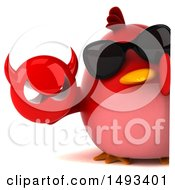 Clipart Of A 3d Red Bird Holding A Devil Head On A White Background Royalty Free Illustration