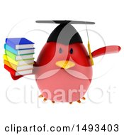 Clipart Of A 3d Red Bird Graduate Holding Books On A White Background Royalty Free Illustration