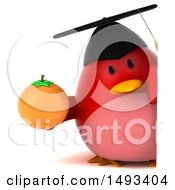 Clipart Of A 3d Red Bird Graduate Holding An Orange On A White Background Royalty Free Illustration