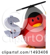 Clipart Of A 3d Red Bird Graduate Holding A Dollar Symbol On A White Background Royalty Free Illustration