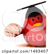 Clipart Of A 3d Red Bird Graduate Holding A Brain On A White Background Royalty Free Illustration