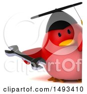 Clipart Of A 3d Red Bird Graduate Holding A Wrench On A White Background Royalty Free Illustration