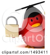 Clipart Of A 3d Red Bird Graduate Holding A Padlock On A White Background Royalty Free Illustration