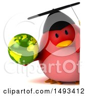 Clipart Of A 3d Red Bird Graduate Holding A Globe On A White Background Royalty Free Illustration