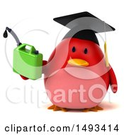 Clipart Of A 3d Red Bird Graduate Holding A Gas Can On A White Background Royalty Free Illustration