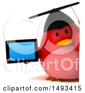 Clipart Of A 3d Red Bird Graduate Holding A  On A White Background Royalty Free Illustration