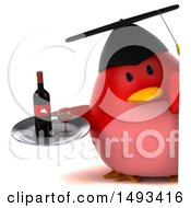 Clipart Of A 3d Red Bird Graduate Holding A Wine Tray On A White Background Royalty Free Illustration