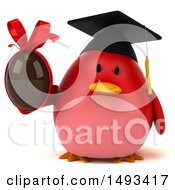 Clipart Of A 3d Red Bird Graduate Holding A Chocolate Egg On A White Background Royalty Free Illustration