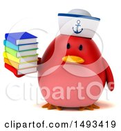 Clipart Of A 3d Red Bird Sailor Holding Books On A White Background Royalty Free Illustration